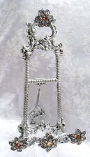 ***SOLD** Rococo French Victorian Style Silver Filigree Rhinestone Jeweled Easel