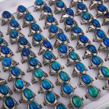 Wholesale Lots 20pcs Color Changing Silver Plated Man Woman Mood Rings