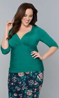Kiyonna Womens Top Green Reah Style 3X USA Ruched 22 24 Sweetheart Neckline