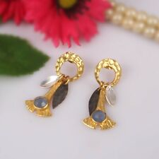 Hammered Designer Gold Plated 925 Silver Blue Chalcedony Dangle Earrings
