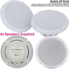 "4x Moisture Resistant Ceiling Speakers -80W 8Ohm 5"" Kitchen Bathroom 2 Way Loud"