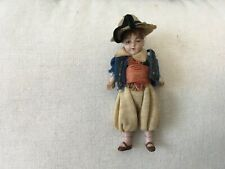 Antique French? German? 3 1/2�Bisque Jointed Dollhouse Doll in Adorable Outfit!