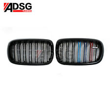 For BMW X5 F15 X6 F16 Dual Slat Front Grille Shiny ///M Grill Tri Color 2015 +