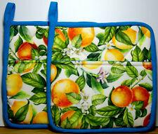 Oranges & Lemons Edged in Blue Hand Made Pot Holders  Made in Australia