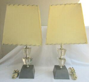 VTG 50s..SET 2.. ART DECO TABLE LAMPS..HOLLYWOOD REGENCY..GLASS CUBES..SHADES