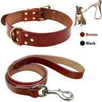 Heavy Duty Genuine Leather Dog Collars and Leash Set Soft for Dogs M L Pit Bull