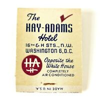 The Hay-Adams House Hotel Washington DC Vintage Matchbook 1950's Unused