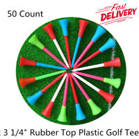 "3 1/4"" Rubber Top Plastic Golf Tees Various Color 50 Count 83mm Outdoor Durable"