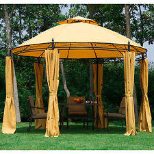 11.5FT Round Outdoor Patio Canopy Gazebo 2-Tier Roof Tent Shelter w/ Curtains