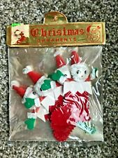 Vtg Nos Santa Pipe Cleaner Xmas Stockings Ornaments Tie On Japan New In Package