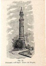 Stampa antica PALAZZOLO SULL'OGLIO Torre del Popolo Brescia 1910 Old print