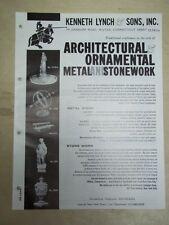 Vtg Kenneth Lynch&Sons Brochure~Church Lighting/Weather Vanes/Sundials~Catalog