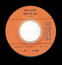 POPCORN/BLUES R & B-MISS LaVELL-DUKE 372-RUN TO YOU/WHY YOUNG MEN GO WILD