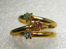 Vintage Lot of 4 Gold Tone Stackable Rings with Gemstones, size 10