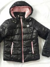 ADIDAS Girls age 9-10 Years black coat jacket quilted hooded winter School