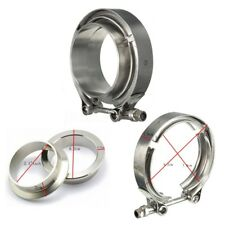 "Stainless Steel 2.5"" 63mm V-Band Clamp & Flanges Exhaust Downpipe Turbo Set AU"