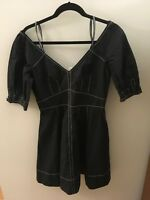 Derek Lam 10 Crosby Black Short Sleeve Dress W/White Stitching, Size 8, NWT!