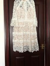 Mylene Klass White Lacy Dress , Nude Lining. 4/4 Sleeve. Fitted Waist.UK 14. New