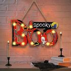 Halloween Decorations Hanging Lighted Boo Spooky Sign, Wooden Tabletop