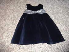 SARAH LOUISE 12M 12 MONTHS NAVY BLUE VELOUR DRESS GORGEOUS
