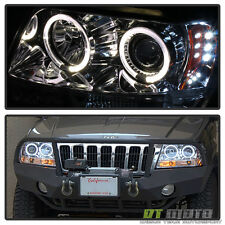 1999-2004 Jeep Grand Cherokee 2x Halo Led Projector Headlights Left+Right 99-04