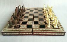 Handmade mother of pearl Inlayed Egyptian chess board and pieces