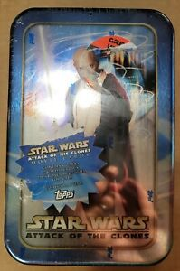 Star Wars Attack of the Clones, Mace Windu Topps Trading Cards Tin Still Sealed!