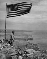 OLD LARGE MILITARY PHOTO, WWII Battle Iwo Jima, American flag marking victory