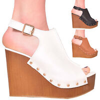 NEW LADIES WOMENS SUMMER PLATFORM HIGH HEEL HOLIDAY SANDAL WEDGES SHOES SIZE 3-8