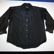 AVALON COLLECTION SATIN SHINY ROCKER CLUB METAL BUTTON DRESS SHIRT Sz M Black