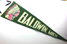 "Early 1900's BALDWIN, MICH. American Indian Chief 29"" Felt Pennant"