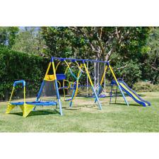 Outdoor Family Play w Sling Swing Mini Trampoline, Slide Toddler Metal Swing Set