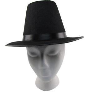 Colonial Pilgrim/Puritan Tall Black Wide Brim Hat Thanksgiving/Halloween Costume