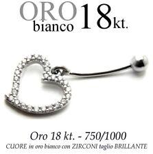 Piercing ombelico belly ORO BIANCO 18kt. con CUORE ZIRCONI taglio BRILLANTE