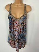 WOMENS NEXT BLUE MIX PATTERNED EMBELLISHED EDGE SLEEVELESS SUMMER VEST TOP UK 6