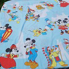 Vintage Walt Disney Productions Mickey Minnie Donald Duck Twin Flat Bed Sheet