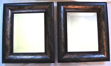 Beveled Mirror Framed Pair Set of 2 Rustic Antique Look Made in Canada