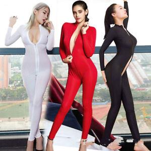 Women Sexy Lingerie Striped Jumpsuit 2 Zipper Open Crotch Club Uniform Bodysuit