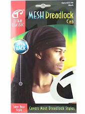TITAN CLASSIC OPEN BACK MESH DREADLOCK STOCKING CAP - BLACK  (22149)