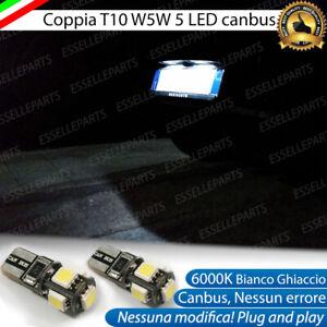 LAMPADE LUCI TARGA PEUGEOT 106 CANBUS T10 W5W 5 LED ALTA LUMINOSITA' 6000K