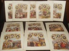 Set Of 11 Engraved & Hand Tinted Teaching Cards; Kings & Queens Of England
