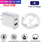 38W PD USB-C Power Adapter Fast Wall Charger Cable For iPhone 12 11 Pro Max XR 8