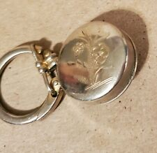Vintage Retractable Key Keeper Pin Silver Tone Keychain Flowers Etched