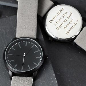 Personalised Men's Matte Black Watch with Grey Strap and Presentation Gift Box