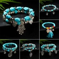 Boho Men Women Natural Turquoise Beaded Bracelet Shell Tassels Pendant Bangle