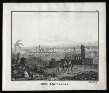 DAMASCUS DAMASKUS schöne Stadtansicht Original-Lithographie 1835.