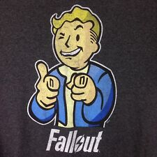 Fallout Vault Boy Charcoal Heather T-Shirt Large Bethesda Video Game Tee