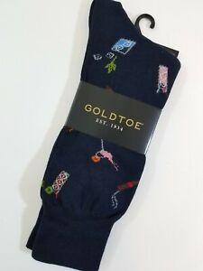 Gold Toe Men's Novelty Socks Crew Cigars & Cocktails Navy Blue Size L 6-12.5