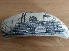 Scrimshaw whale tooth resin replica?? MISSISSIPPI PADDLE WHEELER Ship Design