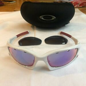 Oakley Split Jacket - polished white frame. 3 Lenses: Black; Persimmon & Purple.